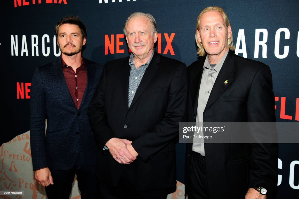 Pedro Pascal, William Rempel and Chris Feistl attend 'Narcos' Season 3 New York Screening - Arrivals at AMC Lincoln Square 13 Theater on August 21, 2017 in New York City.