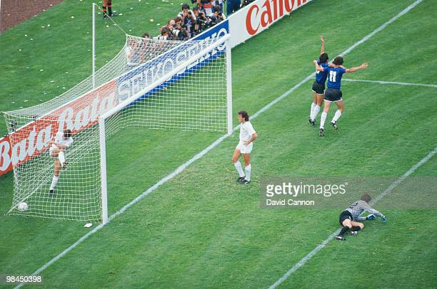 Pedro Pasculli and Diego Maradona Argentina celebrate the winning goal in the round of 16 match against Uruguay during the 1986 FIFA World Cup on 16...