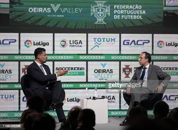 Pedro Pinto CEO of Empower Sports talks with Tiago Craveiro CEO Portuguese Football Federation during Day 1 of Soccerex Europe Convention at Tagus...