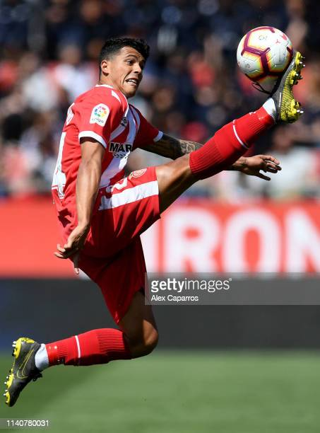 Pedro Porro of Girona controls the ball in mid air during the La Liga match between Girona FC and RCD Espanyol at Montilivi Stadium on April 06 2019...