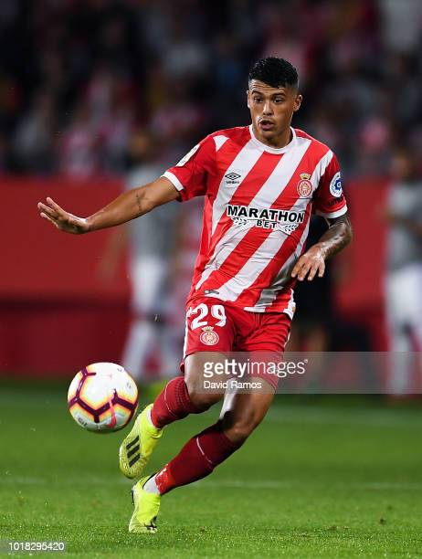 Pedro Porro of Girona FC runs with the ball during the La Liga match between Girona FC and Real Valladolid CF at Montilivi Stadium on August 17 2018...