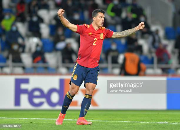 Pedro Porro of Spain reacts during the FIFA World Cup 2022 Qatar qualifying match between Georgia and Spain at the Boris Paichadze Dinamo Arena on...