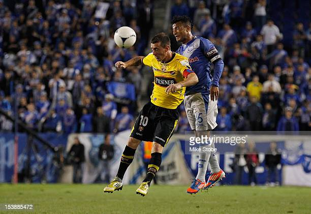 Pedro Quinonez of CS Emelec and Damian Diaz of Barcelona SC vie for the ball during a International Friendly at Red Bull Arena on October 10 2012 in...