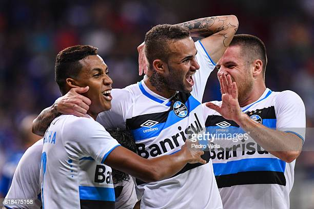 Pedro Rocha Luan and Ramiro of Gremio celebrates a scored goal against Cruzeiro during a match between Cruzeiro and Gremio as part of Copa do Brasil...