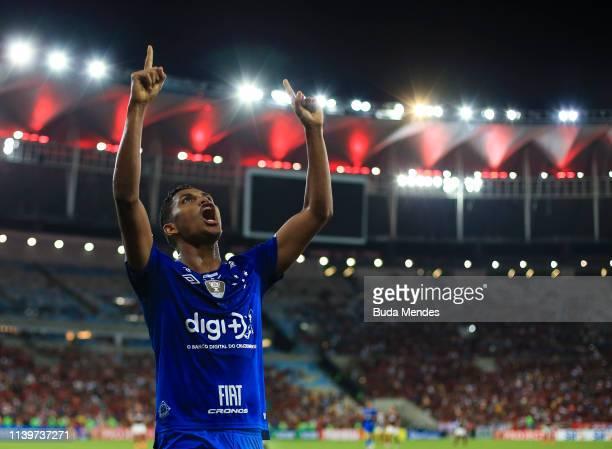 Pedro Rocha of Cruzeiro celebrates a scored goal during a match between Flamengo and Cruzeiro as part of Brasileirao Series A 2019 at Maracana...