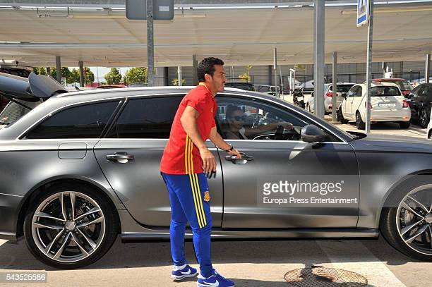 Pedro Rodriguez and Carolina Martin arrive at the Prat airport a day after Italy defeated Spain 20 during the Uefa Euro 2006 on June 28 2016 in...