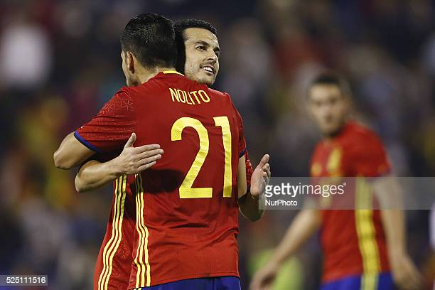Pedro Rodriguez and Nolito of Spain celebrates the victory of the game during the friendly football match between Spain and England at Jose Rico...