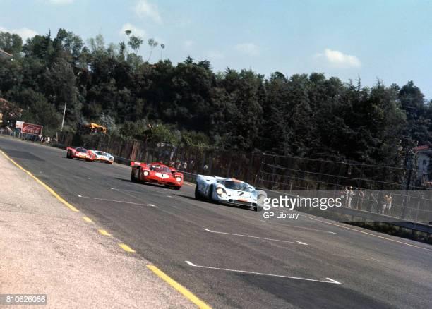 Pedro Rodriguez driving a Porsche 917 and Arturo Merzario driving a Ferrari 512S at Imola 500Ks Italy