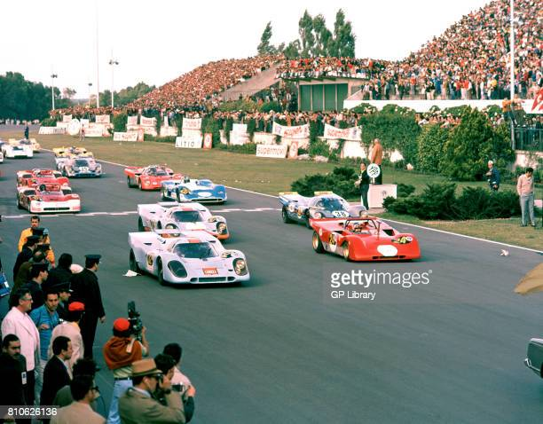 Pedro Rodriguez in a Porsche 917 2nd and Arturo Merzario in a Ferrari 312PB at the Start of Buenos Aires 1000Ks