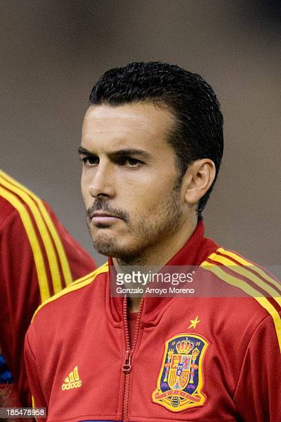 Pedro Rodriguez Ledesma of Spain looks on prior to start the FIFA 2014 World Cup Qualifier match between Spain and Georgia at Carlos Belmonte stadium...