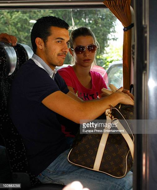Pedro Rodriguez Ledesma 'Pedrito' and his girlfriend leave the hotel after celebrations of the Spanish national football team's victory over the...
