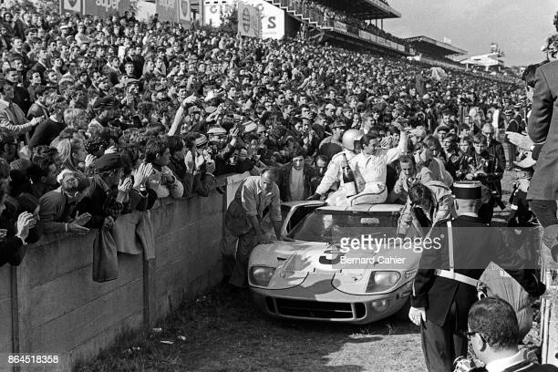 Pedro Rodriguez Lucien Bianchi Ford GT40 24 Hours of Le Mans Le Mans 29 September 1968 Pedro Rodriguez and teammate Lucien Bianchi celebrate their...