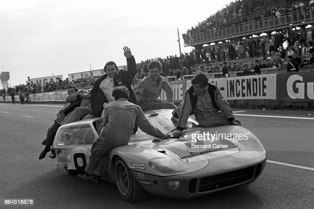 Pedro Rodriguez Lucien Bianchi Ford GT40 24 Hours of Le Mans Le Mans 29 September 1968 Pedro Rodriguez celebrates his victory in the 24 Hours of Le...