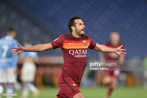 May 15 : Pedro Rodriguez of AS Roma celebrates after scoring a goal during Italian Serie A soccer match between AS Roma and SS Lazio at Stadio...