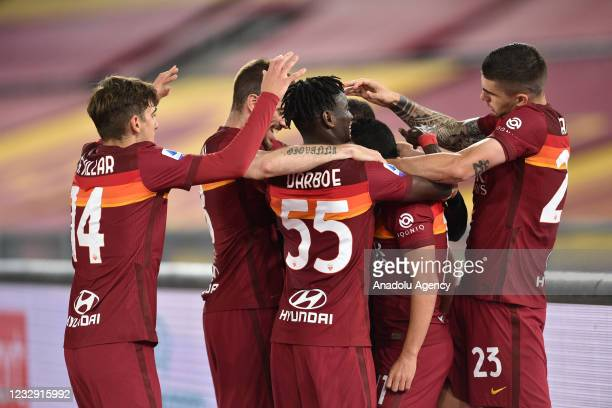 May 15 : Pedro Rodriguez of AS Roma celebrates with his team mates after scoring a goal during Italian Serie A soccer match between AS Roma and SS...