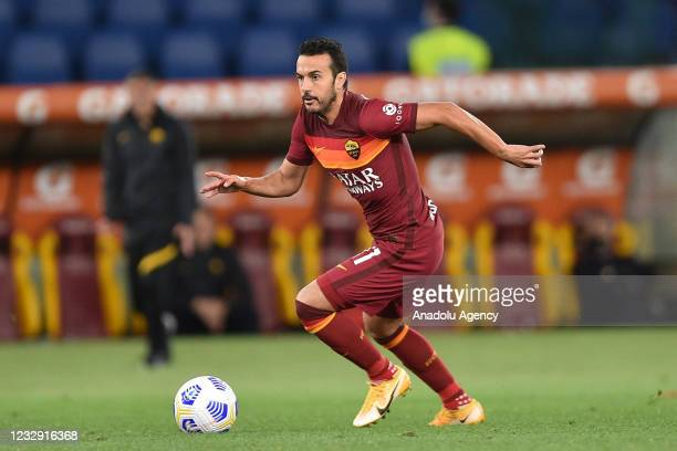 May 15 : Pedro Rodriguez of AS Roma scoring a goal during Italian Serie A soccer match between AS Roma and SS Lazio at Stadio Olimpico on May 15,2021...