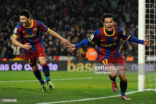 Pedro Rodriguez of Barcelona celebrates after scoring his forth team's goal during the Copa del Rey Semi Final First Leg match between Barcelona and...