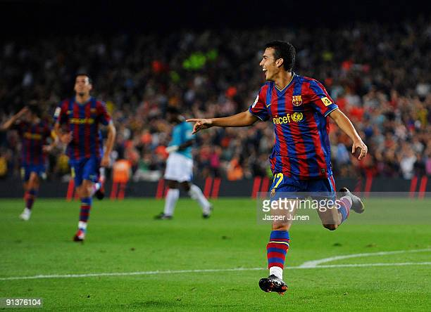 Pedro Rodriguez of Barcelona celebrates scoring his sides opening goal during the La Liga match between Barcelona and Almeria at the Camp Nou Stadium...