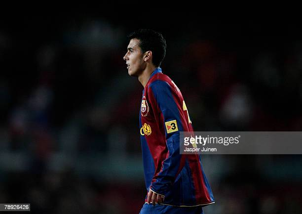 Pedro Rodriguez of Barcelona during his debut La Liga match between Barcelona and Murcia at the Camp Nou Stadium on January 12 2008 in Barcelona...