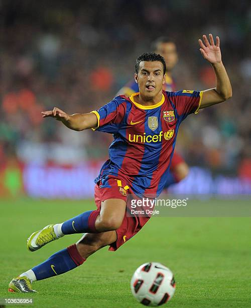 Pedro Rodriguez of Barcelona in action during the Joan Gamper Trophy match between Barcelona and AC Milan at Camp Nou stadium on August 25 2010 in...