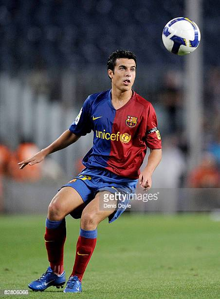 Pedro Rodriguez of Barcelona in action during the La Liga match between Barcelona and Racing Santander at the Camp Nou stadium on September 13 2008...