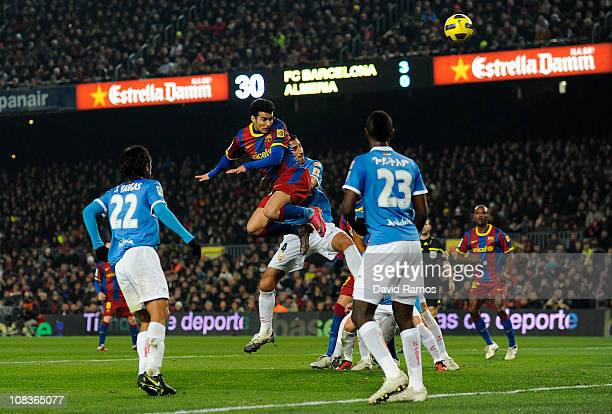 Pedro Rodriguez of Barcelona scores his forth team's goal during the Copa del Rey Semi Final First Leg match between Barcelona and Almeria at Camp...