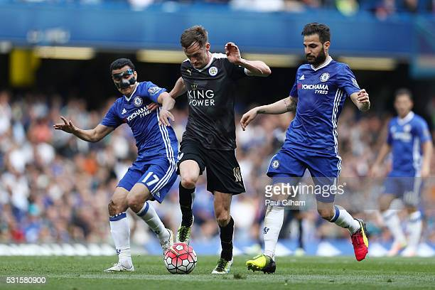 Pedro Rodriguez of Chelsea Andy King of Leicester City and Cesc Fabregas of Chelsea battle for the ball during the Barclays Premier League match...