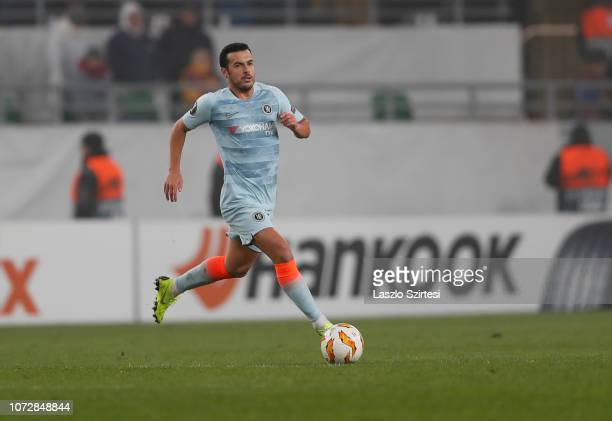 Pedro Rodriguez of Chelsea FC controls the ball during the UEFA Europa League Group Stage Match between Vidi FC and Chelsea FC at Ferencvaros Stadium...