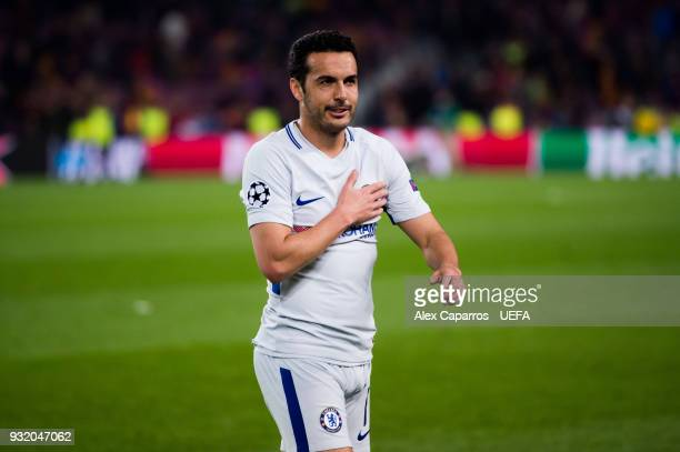 Pedro Rodriguez of Chelsea FC reacts to the crowd after the UEFA Champions League Round of 16 Second Leg match between FC Barcelona and Chelsea FC at...