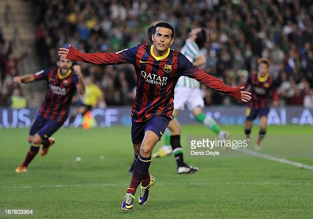 Pedro Rodriguez of FC Barcelona celebrates after scoring his team's 2nd goal during the La Liga match between Real Betis Balompie and FC Barcelona at...