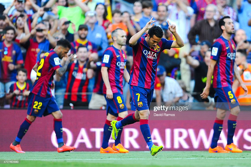 Pedro Rodriguez of FC Barcelona celebrates after scoring his team's second goal during the La Liga match between FC Barcelona and Real Sociedad de Futbol at Camp Nou on May 9, 2015 in Barcelona, Spain.