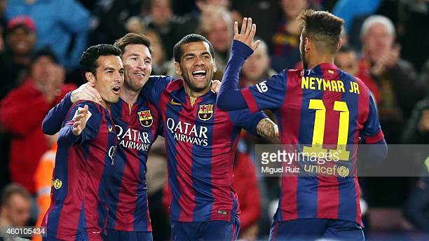 Pedro Rodriguez of FC Barcelona celebrates the fourth goal with his teammates Lionel Messi Dani Alves and Neymar during the La Liga match between FC...