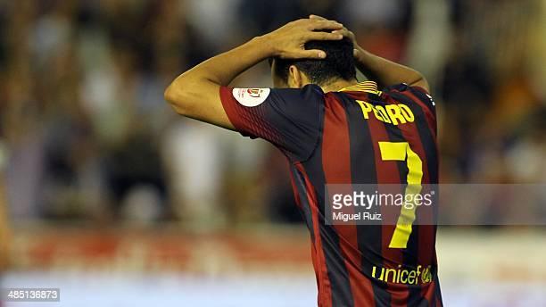 Pedro Rodriguez of FC Barcelona despairs during the Copa del Rey Final between FC Barcelona and Real Madrid CF at Estadio Mestalla on April 16 2014...