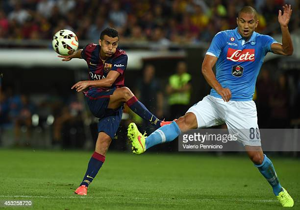 Pedro Rodriguez of FC Barcelona in action against Gokhan Inler of SSC Napoli during the preseason friendly match between FC Barcelona and SSC Napoli...