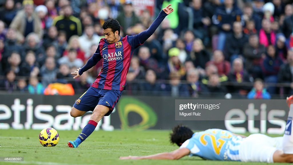 Pedro Rodriguez of FC Barcelona kicks the ball during the La Liga match between FC Barcelona and Malaga CF at Camp Nou on February 21, 2015 in Barcelona, Spain.