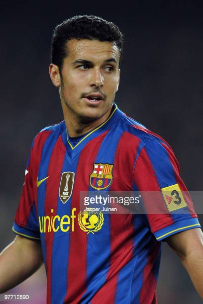 Pedro Rodriguez of FC Barcelona looks on during the La Liga match between Barcelona and Valencia at the Camp Nou Stadium on March 14 2010 in...