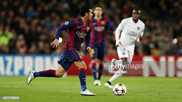 Pedro Rodriguez of FC Barcelona manages the ball during the UEFA Champions League match between FC Barcelona and Paris SaintGermain at Camp Nou on...