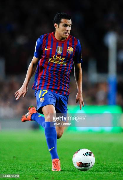 Pedro Rodriguez of FC Barcelona runs with the ball during the La Liga match between FC Barcelona and RCD Espanyol at Camp Nou on May 5 2012 in...