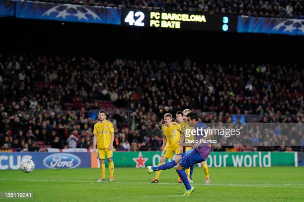 Pedro Rodriguez of FC Barcelona scores his team's fourth goal during the UEFA Champions League group H match between FC Barcelona and FC BATE Borisov...