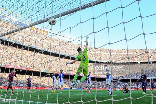 Pedro Rodriguez of FC Barcelona scores his team's second goal during the La Liga match between FC Barcelona and Real Sociedad de Futbol at Camp Nou...