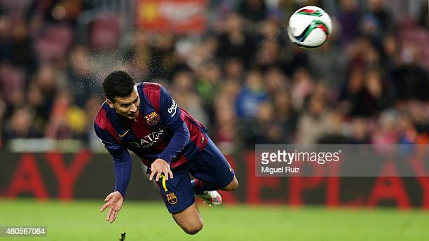 Pedro Rodriguez of FC Barcelona scores the first goal during the Copa del Rey 1/16 2nd leg match between FC Barcelona and SD Huesca at Camp Nou on...