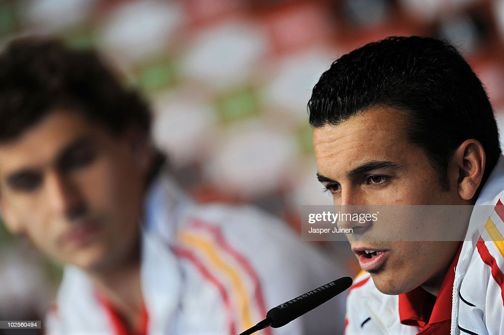 Pedro Rodriguez of Spain answers questions asked by the media during a press conference, ahead of their World Cup 2010 Quarter-Final match against Paraguay, on July 1, 2010 in Potchefstroom, South Africa.