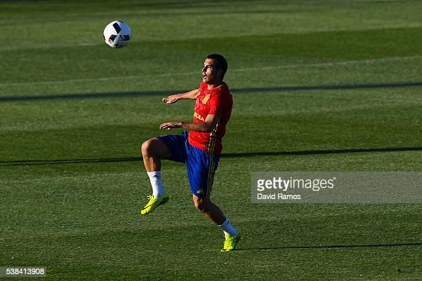 Pedro Rodriguez of Spain controls the ball during a training session at La Ciudad del Futbol de las Rozas on June 6 2016 in Madrid Spain