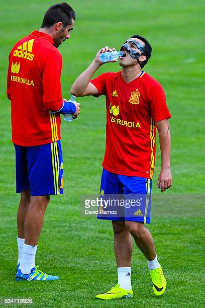 Pedro Rodriguez of Spain drinks water during a training session on May 27 2016 in Schruns Austria