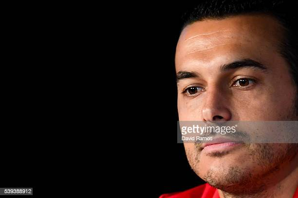 Pedro Rodriguez of Spain faces the media during a press conference on June 11 2016 in La Rochelle France
