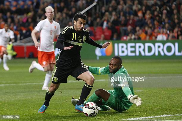 Pedro Rodriguez of Spain Goalkeeper Kenneth Vermeer of Holland during the International friendly match between Netherlands and Spain on March 31 2015...