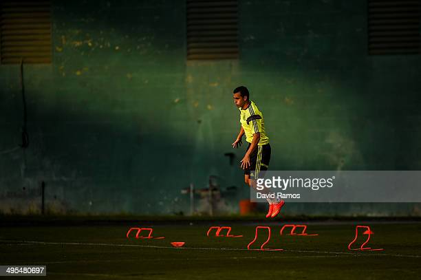 Pedro Rodriguez of Spain in action during a training session of the Spain National Team at the Robert F Kennedy Stadium on June 3 2014 in Washington...