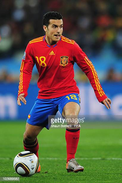 Pedro Rodriguez of Spain in action during the 2010 FIFA World Cup South Africa Semi Final match between Germany and Spain at Durban Stadium on July...