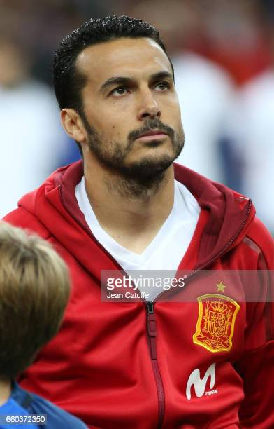 Pedro Rodriguez of Spain looks on before the international friendly match between France and Spain between France and Spain at Stade de France on...