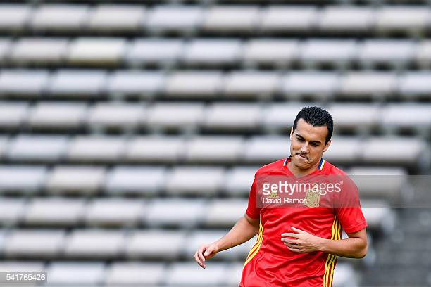 Pedro Rodriguez of Spain looks on during a training session ahead of their UEFA Euro 2016 Group D match against Croatia at Stade ChabanDelmas on June...